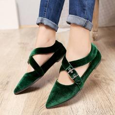 Frauen Samt Flascher Absatz Flache Schuhe mit Schnalle Schuhe