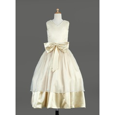 Ball Gown Tea-length Flower Girl Dress - Organza/Charmeuse Sleeveless V-neck With Sash/Bow(s)