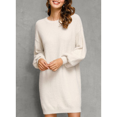 Round Neck Casual Long Solid Chunky knit Sweaters (1002251599)