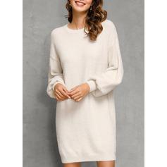 Rundhalsausschnitt Lässige Kleidung Lange Einfarbig Grobstrick Pullover (1002251599)