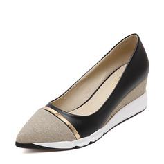 Frauen Funkelnde Glitzer PU Keil Absatz Absatzschuhe Geschlossene Zehe Keile mit Zweiteiliger Stoff Schuhe