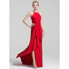 Sheath/Column Scoop Neck Chapel Train Jersey Evening Dress With Beading Cascading Ruffles (017102496)