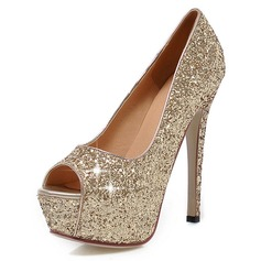 Sparkling Glitter Stiletto Heel Pumps Platform Peep Toe shoes