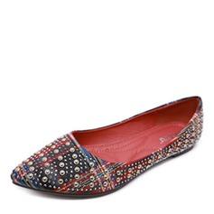 Women's Fabric Flat Heel Flats Closed Toe With Rivet shoes