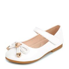 Pigens Lukket Tå patent Leather Flad Hæl Fladsko Flower Girl Shoes med Bowknot Velcro (207126985)