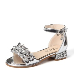 Girl's Patent Leather Low Heel Peep Toe Sandals With Buckle Rhinestone