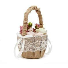 Pretty Flower Basket in Linen With Lace