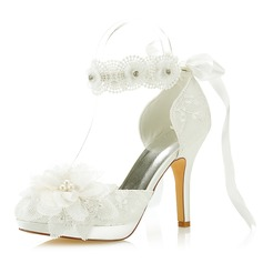 Women's Satin Stiletto Heel Closed Toe Pumps With Flower Applique
