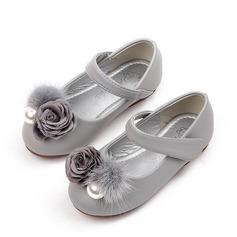 Fille de bout rond Cuir en microfibre talon plat Chaussures plates avec Perle d'imitation Velcro Une fleur