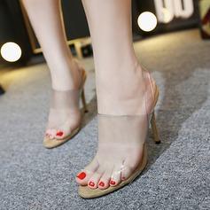 Kvinnor PVC Stilettklack Sandaler Peep Toe Slingbacks skor