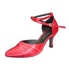 De mujer Satén Tacones Sandalias Salón Sala de Baile con Tira de tobillo Agujereado Zapatos de danza