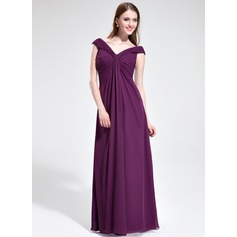Empire Off-the-Shoulder Floor-Length Chiffon Prom Dresses With Ruffle