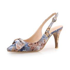 De mujer Tela Tacón stilettos Salón Cerrados con Bowknot zapatos