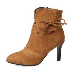 Frauen Veloursleder Stöckel Absatz Absatzschuhe Stiefel Stiefelette mit Bowknot Reißverschluss Schuhe