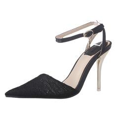 Frauen Lace Stöckel Absatz Absatzschuhe Geschlossene Zehe Slingpumps Schuhe