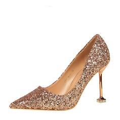 Kvinner Glitrende Glitter Stiletto Hæl Pumps Lukket Tå med Glitrende Glitter sko