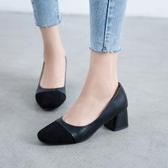 Женщины Замша Устойчивый каблук На каблуках с Соединение врасщеп обувь