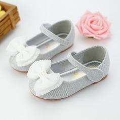 Mädchens Round Toe Ballerinas Leder Flache Ferse Flache Schuhe Blumenmädchen Schuhe mit Perlstickerei Bowknot Klettverschluss
