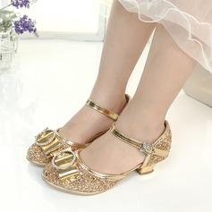 Mädchens Geschlossene Zehe funkelnden Glitter Blumenmädchen Schuhe mit Bowknot