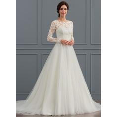 De Baile/Princesa Decote redondo Sweep/Brush trem Tule Vestido de noiva