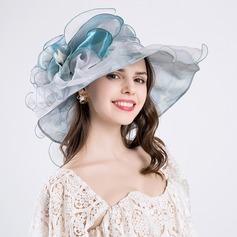 Senhoras Elegante Algodão/Fio rede com Flor de seda De disquetes Chapéu