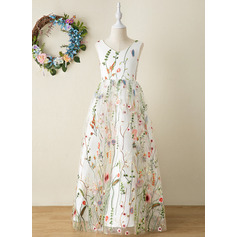 A-Line Floor-length Flower Girl Dress - Jacquard Sleeveless V-neck With Flower(s)/Bow(s)
