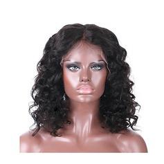 4A non remy Ondulé Cheveux humains Perruques avant en dentelle 260g