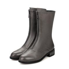 De mujer Cuero Tacón plano Botas longitud media con Cremallera zapatos