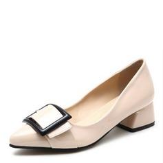 Vrouwen Patent Leather Chunky Heel Pumps Closed Toe met strik schoenen