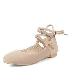 Femmes Suède Talon plat Chaussures plates avec Dentelle Lanière tressé chaussures