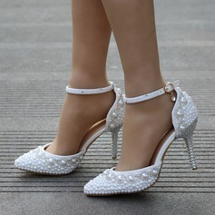 Women's Leatherette Stiletto Heel Closed Toe Pumps With Imitation Pearl Rhinestone (047149248)