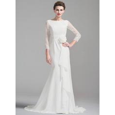 Trompete/Sereia Decote redondo Cauda de sereia De chiffon Vestido de noiva com Bordado fecho de correr Babados em cascata