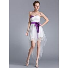Vestidos princesa/ Formato A Amada Assimétrico Tule Vestido de Férias com Pregueado Cintos Beading Apliques de Renda lantejoulas Curvado