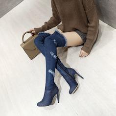 Vrouwen Jean Stiletto Heel Pumps Knie Lengte Laarzen met Anderen schoenen