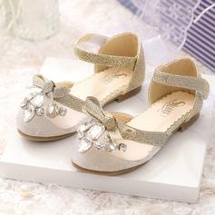 Muchacha Punta Cerrada Malla Talón plano Zapatos de niña de las flores con Bowknot Rhinestone