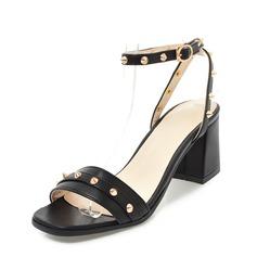 De mujer Cuero Tacón ancho Sandalias Encaje Solo correa con Rivet zapatos