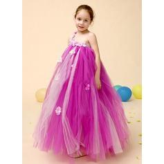 Vestidos princesa/ Formato A Longuete Vestidos de Menina das Flores - Tule Sem magas Um ombro com Beading/fecho de correr