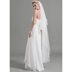 Two-tier Pencil Edge Waltz Bridal Veils With Applique (006094960)