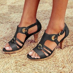 Frauen PU Stöckel Absatz Sandalen Absatzschuhe Peep Toe mit Schnalle Schuhe