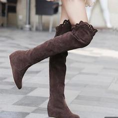 Kvinder Ruskind Kile Hæl Platform Støvler Over Knæet med Ruched sko