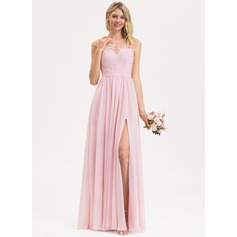 A-Line Scoop Neck Floor-Length Chiffon Lace Bridesmaid Dress With Split Front (007202422)