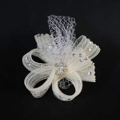 Lindo Tule Fascinators com Strass