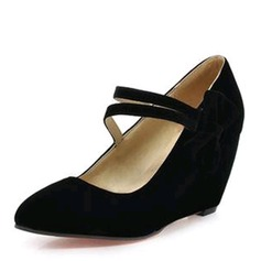 Dla kobiet Zamsz Obcas Koturnowy Czólenka Zakryte Palce Koturny Z Kokarda obuwie