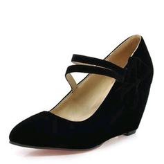 Frauen Veloursleder Keil Absatz Absatzschuhe Geschlossene Zehe Keile mit Bowknot Schuhe
