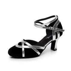 Женщины Замша На каблуках На каблуках Бальные танцы с Ремешок на щиколотке Обувь для танцев