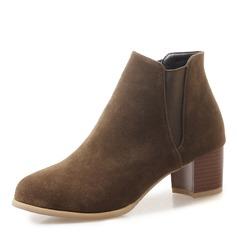 Vrouwen Suede Chunky Heel Pumps Closed Toe Laarzen Enkel Laarzen met Gesplitste Stof schoenen