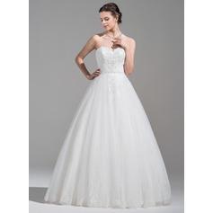 De baile Amada Longos Tule Vestido de noiva com Pregueado Bordado Apliques de Renda lantejoulas