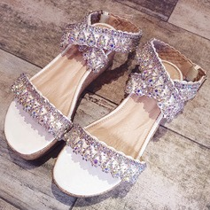 Women's Microfiber Leather Flat Heel Peep Toe Platform Sandals Beach Wedding Shoes With Rhinestone Sequin