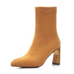 Frauen Veloursleder Stöckel Absatz Absatzschuhe Stiefel Stiefel-Wadenlang mit Reißverschluss Schuhe
