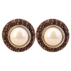 Nizza Legierung Faux-Perlen Stoff mit Nachahmungen von Perlen Frauen Art-Ohrringe (Set von 2)